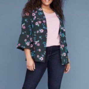 NWT Lane Bryant Green Floral Button Blazer NEW! 28
